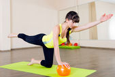 Pretty young girl fitness workout — Stock Photo