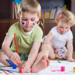 Two cute kids painting — Stock Photo