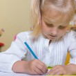 Cute little girl drawing — Stock Photo