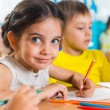 Stock Photo: Group of cute little prescool kids drawing