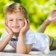 Cute little boy with butterfly lying on green grass — ストック写真