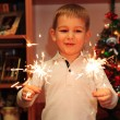 Cheerful boy watching sparklers — Stock Photo