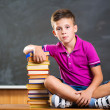 Cute school boy sitting with books in classroom — Stock Photo #30751283