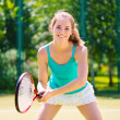 Portrait of a young tennis player — Stockfoto