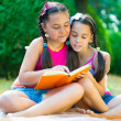 Sisters reading book in summer park — Stock Photo