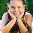 Portrait of pretty hispanic girl in summer day — Stock Photo