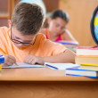 Clever schoolboy studying in classroom  — Stock Photo