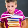 Adorable schoolboy with stack of books — Stock Photo #32131975