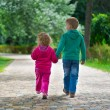 Little brother and sister walking by footpath — Stock Photo