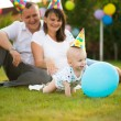 Little baby in cap on his birthday — Stockfoto