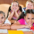 Happy schoolchildren during lesson in classroom — Stok fotoğraf