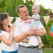 Happy family celebrating first birthday of baby  — Foto Stock