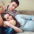 Happy young pregnant couple — Stockfoto