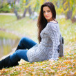 Beautiful girl at autumn park — Stockfoto