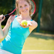 Portrait of  pretty young tennis player — Stockfoto #41663635