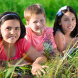 Group of children resting in camp — Stock Photo #51776859
