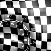 Racing flag speedometer — Stock Photo