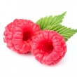 Sweet raspberry with leaves — Stock Photo