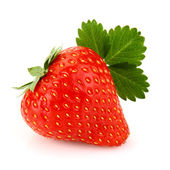 Strawberry with leaf — Stock Photo