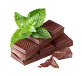 Dark chocolate with mint — Stock Photo