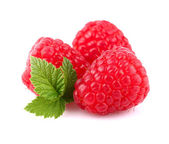 Raspberry with leaf — Stock Photo