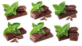 Collage from chocolate with mint — Stock Photo
