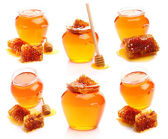Collage from honey and honeycombs — Stock Photo