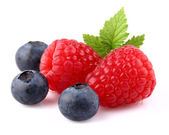 Raspberry with blueberry — Stock Photo