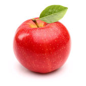 Red apple with leaf — Stok fotoğraf
