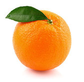 Ripe orange with leaf — Stock Photo