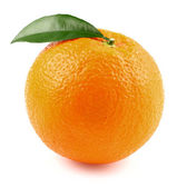 Juicy orange with leaf — Stock Photo