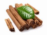 Dried bark of cinnamon with leaf — Stock Photo