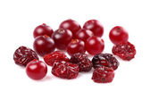 Dried and fresh cranberries — Stock Photo