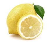 Juicy lemon with leaf — Stock Photo