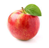 Ripe apple with leaf — Stockfoto