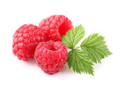 Ripe raspberry with leaf — Stock Photo
