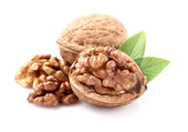 Walnuts with leaves — Stock Photo