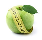 Green apple with centimeter — Stock Photo
