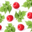Collage from raspberry and leaves — Stock Photo #30283197
