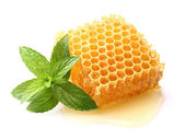 Honeycomb with mint — Stock Photo