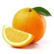 Sweet orange with slice — Stock Photo