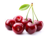 Juicy cherry with leaf — Stock Photo