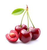 Ripe cherries with leaf — Photo
