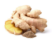 Dried and fresh ginger root — Stock Photo