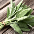 Sage on a wooden background — Stock Photo #43526409