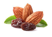 Almonds with raisins — Stock Photo