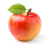 Ripe apple with leaf — Stock Photo