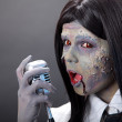 Cute zombie girl with retro microphone  — Stock Photo