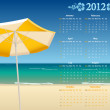 Royalty-Free Stock Imagen vectorial: Vector American calendar 2012 with tropic beach
