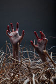 Zombie stretching his creepy hands from the grave — Stockfoto